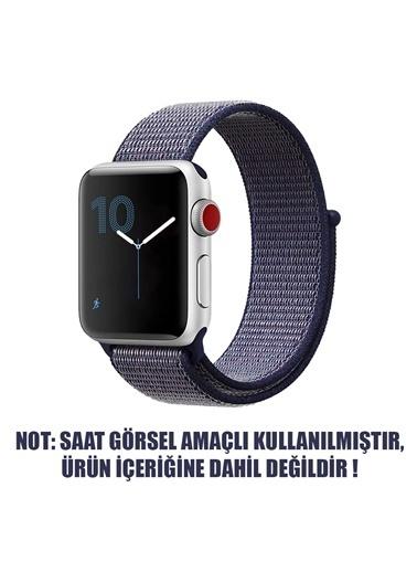 Microsonic Apple Watch Series 3 38mm Hasırlı Kordon Woven Sport Loop Midnight Blue Lacivert